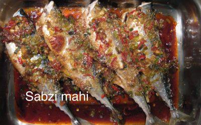 Sabzi mahi (gevulde makreel met koriander)